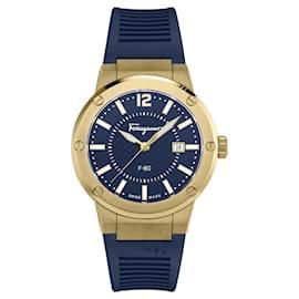 Salvatore Ferragamo-F-80 Silicone Watch-Golden,Metallic