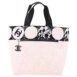 Chanel-Pink x Black Terry Cloth CC Logo Tote Bag-Other