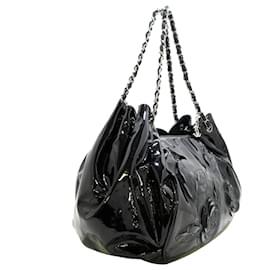 Chanel-Chanel Black Camelia Patent Leather Chain Tote Bag-Black
