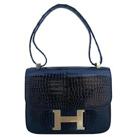 Hermès-Hermes Constance Crocodile 23 Noir-Black
