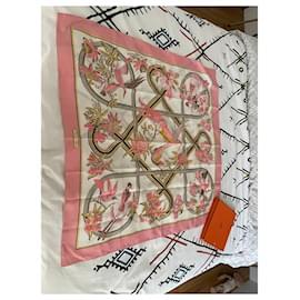 Hermès-Silk scarves-Pink,White