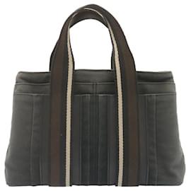 Hermès-HERMES Troca Horizontal PM Hand Bag Canvas Black Auth yt480-Black