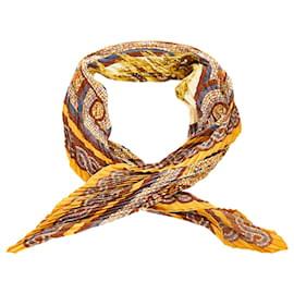 Hermès-Hermes Brown Sous le Cedre Scarf-Brown,Multiple colors