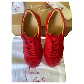 Christian Louboutin-Red louboutin sneakers-Red