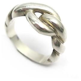 Hermès-HERMES GAETAN RING OF PERCIN TORSADE T56 in silver 925 7.4 GR SILVER RING-Silvery