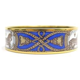 Hermès-HERMES BRACELET PRINTED HORSE GRAND APPARAT T19 70MM IN GOLDEN ENAMEL-Golden