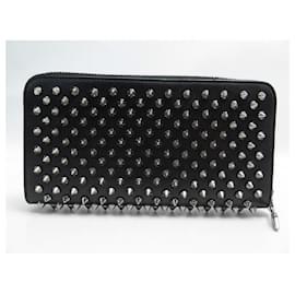 Christian Louboutin-CHRISTIAN LOUBOUTIN PANETTONE SPIKE WALLET 1165065 LEATHER WALLET BOX-Black