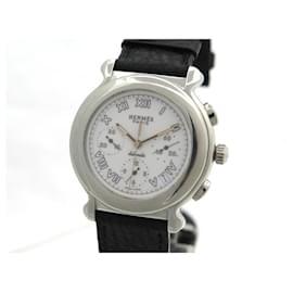 Hermès-HERMES KEPLER KP WATCH1.910 AUTOMATIC CHRONOGRAPH 39 MM STEEL WATCH-Silvery