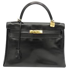 Hermès-HERMES BAG KELLY 32 Black Box-Black,Gold hardware