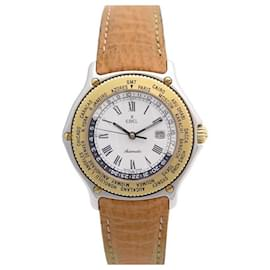 Ebel-VINTAGE WATCH EBEL VOYAGER 1124913 automatic 38MM GOLD & STEEL GOLD STEEL WATCH-Silvery