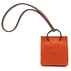 Hermès-NEW CHARM HERMES ACCESSORY OF BAG H079065ORANGE LEATHER CAAA + BOX-Orange
