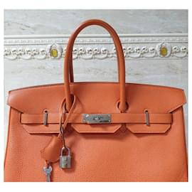 Hermès-HERMES BIRKIN 35 2 colour Leather Handbag-Orange