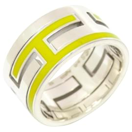 Hermès-Hermes Silver Move H Ring-Silvery,Yellow