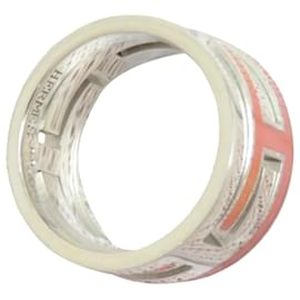 Hermès-Hermes Silver Move H Ring-Silvery,Pink