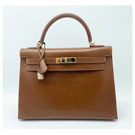 Hermès-Hermes Kelly 32 HASELNUSS BOX LEDER-Haselnuss