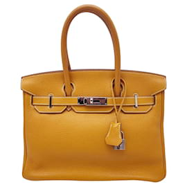 Hermès-HERMES BIRKIN 30cm em couro Clemence mostarda-Mostarda