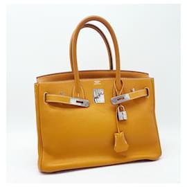 Hermès-Hermes Birkin 30cm en cuir Clemence moutarde-Moutarde