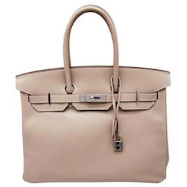 Hermès-BRIKIN 35 CM GRAY CLAY TADELAKT-Grey