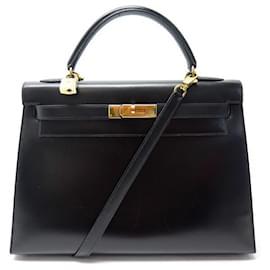 Hermès-VINTAGE HERMES KELLY HANDBAG 33 BLACK BOX BANDOULIERE LEATHER HAND BAG-Black