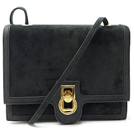 Hermès-VINTAGE HERMES RING HANDBAG 1978 BLACK SUEDE & SUEDE LEATHER STRAP PURSE-Black
