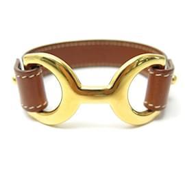 Hermès-HERMES PAVANE M BRACELET IN BROWN CHAMONIX LEATHER WITH GOLD BUCKLE-Brown