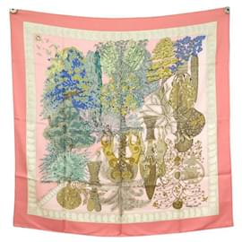 Hermès-NEW HERMES SCARF THE LEGENDS OF THE FAIVRE SQUARE TREE 90 SILK SCARF NEW SILK-Pink