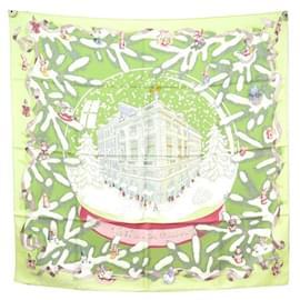 Hermès-NEW RARE HERMES NOEL SCARF 24 FAUBOURG RYBALTCHENKO CARRE 90 SILK SCARF-Green
