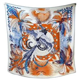Hermès-MYTHICAL HERMES CHALE PHOENIX TOUTSY IN CASHMERE AND SILK 140 SCARF SHAWL-White