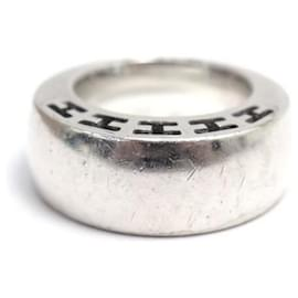 Hermès-HERMES CLARTE RING LARGE MODEL H104849b00049 T52 IN SILVER RING-Silvery