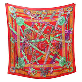 Hermès-NINE CHALE HERMES THE DREAM OF THE UNICORN CASHMERE & RED SILK SHAWL BOX-Red