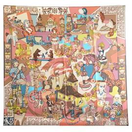 Hermès-NEW HERMES ZABAVUSHKA MIROSHNICHENKO SQUARE SCARF 90 SILK + BOX SILK SCARF-Multiple colors