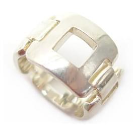 Hermès-HERMES SQUARE AJOURE T RING50 in Sterling Silver 8.5GR SQUARE SILVER RING-Silvery