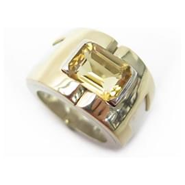 Hermès-HERMES RING SIZE 52 yellow gold 18K SILVER 925 Citrine 16G GOLD SLVER RING BOX-Silvery