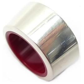 Hermès-HERMES RING SIZE 52 in Sterling Silver 925 & RED LACQUER + SILVER RING BOX-Silvery