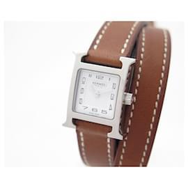 Hermès-HERMES HOUR H MINI HH WATCH1.110  lined TOWER QUARTZ STEEL + WATCH BOX-Silvery