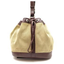 Hermès-VINTAGE HERMES BUCKET BUCKET CIRCA 1950 CANVAS & BEIGE LEATHER HAND BAG-Beige