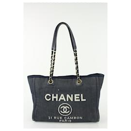 Chanel-Navy Blue Denim Deauville Chain Tote Bag-Other