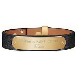 Hermès-HERMES BRACELET CUIR MINI DOG PLAQUE VEAU SWIFT-Black