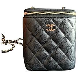 Chanel-Chanel Black Caviar Mini Vanity case-Black