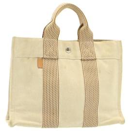 Hermès-HERMES Tote PM Hand Bag Canvas Beige Auth 25420-Beige