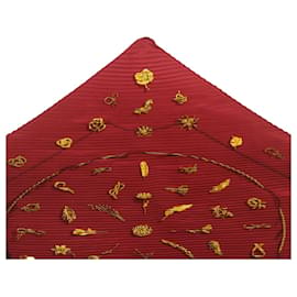 Hermès-HERMES Pleated Scarf Silk Red Auth 25451-Red