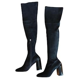 Hermès-HERMES BLACK SUEDE CUISSARDES BOOTS WITH PATENT LEATHER HEEL-Black