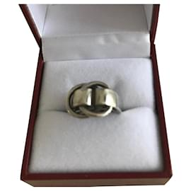 Hermès-Vintage collector's 'Belt' ring in solid silver-Silvery