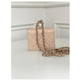 Chanel-Card holder with chain-Beige