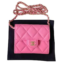 Chanel-Chanel Pink Portemonnaie an Kette-Pink