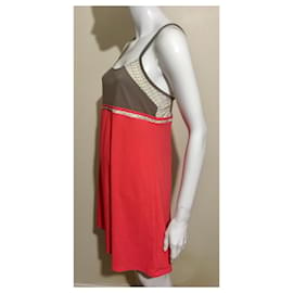 John Galliano-John Galliano newspaper dress-Beige,Grey,Coral