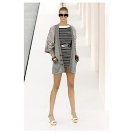 Chanel-Chanel 07P 2007 SPRING READY-TO-WEAR dress Karl Lagerfeld CC logo long-sleeved striped mini-dress-Multiple colors