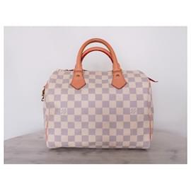 Louis Vuitton-Sac Louis Vuitton speedy 25 checkered azure-White