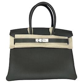 Hermès-HERMES BIRKIN 30 Vert De Gris Togo Leather-Dark grey