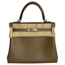 Hermès-hermes kelly 25 Etoupe Swift Leather-Taupe